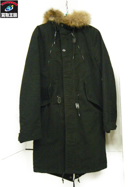 Iroquois ラクーンファーモッズコート 2 黒【中古】