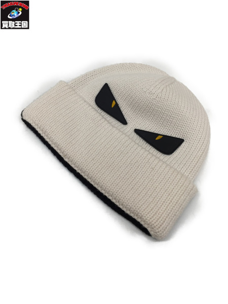 FENDI モンスター ビーニー WHT×BLK フェンディ ニット帽 ニットキャップ 帽子 バイカラー ロゴ 【中古】[▼]