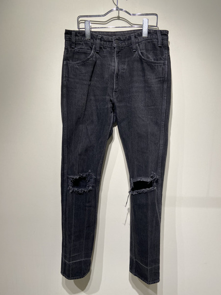 UNUSED/KNEE DAMAGED DENIM PANTS/2/BLK【中古】