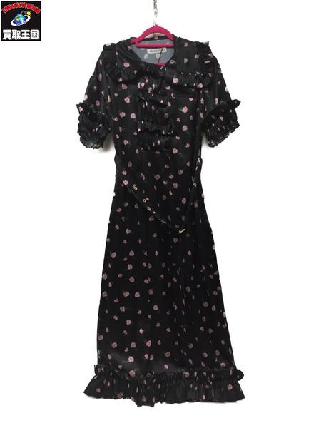 AKIKO AOKI 17SS Frilled Flower Dress F BLK/ピンク小花柄【中古】[▼]