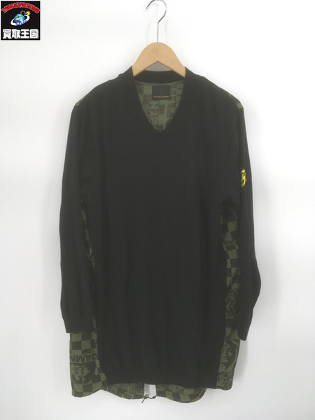 HYSTERIC GLAMOUR STEREOLAB総柄×ニットワンピース(F)ブラック【中古】
