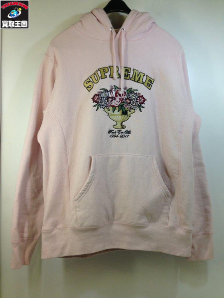17FW Supreme (SIZE/M) Centerpiece Hooded Sweater パーカー ピンク【中古】