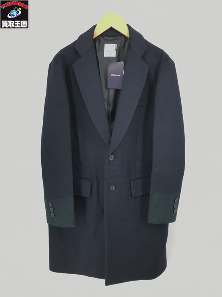 APPLEBUM Needle Punch Chester Coat Navy/ウールチェスターコート (M) 【中古】