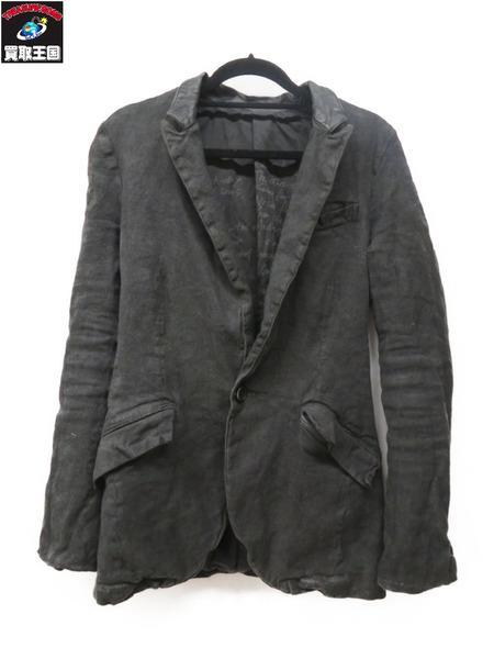 BACK LASH リネンレザー テーラードジャケット (L) ブラック 1330-04【中古】