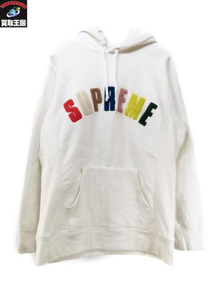 Supreme/Chenille Arc Logo Hooded Sweatshirt/L シュプリーム ホワイト【中古】