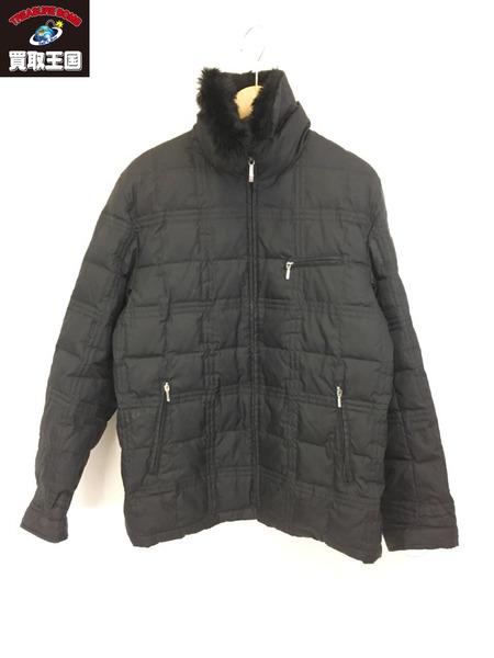BURBERRY BLACK LABEL ラビットファー キルティングダウンジャケット (L) ブラック【中古】