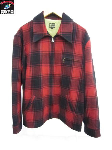 FLATHAED チェックウールジャケット 赤 size38【中古】[値下]