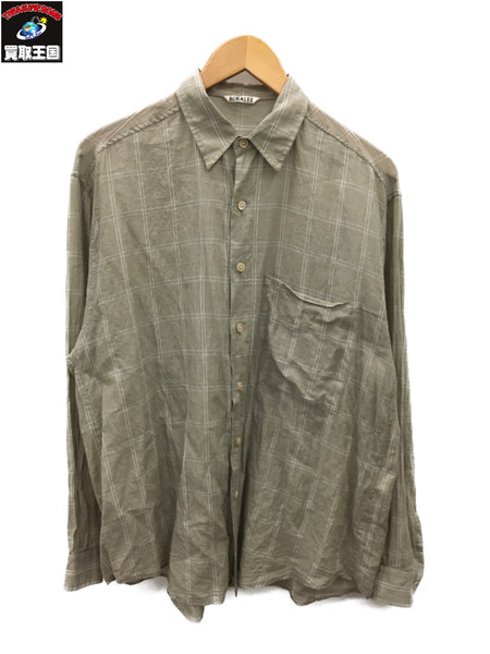 AURALEE オーラリー 19SS SUPER LIGHT CHECK BIG SHIRTS (4) カーキ【中古】
