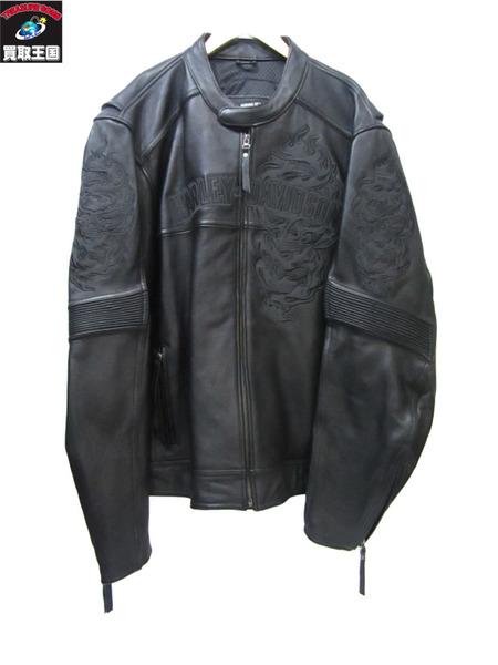 HARLEY-DAVIDSON エレメンタル スカル レザージャケット ハーレーダビッドソン 黒 XL【中古】