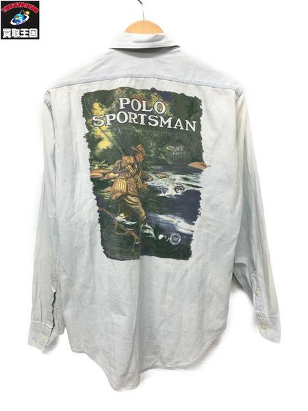 POLO SPORTSMAN USA製 バックフライフィッシングプリントシャツ(L)【中古】