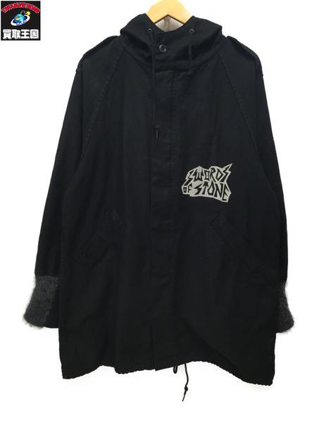 HYSTERIC GLAMOUR FERGADELIC METALプリントラグラフーデッドシャツ(F)ブラック【中古】