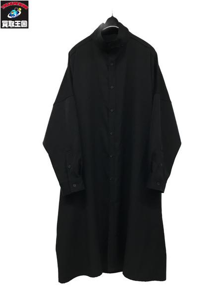 Yohji Yamamoto/19SS/シワギャバ/スタンドカラー/ロングシャツ/1 HH-B22-100【中古】[▼]
