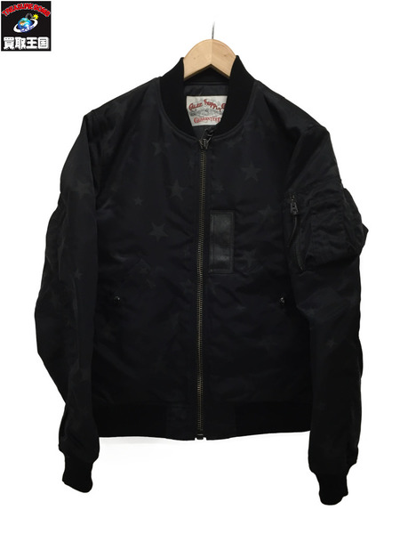 CALEE ALLOVER STAR PATERN MA-1 JACKET/黒/S【中古】