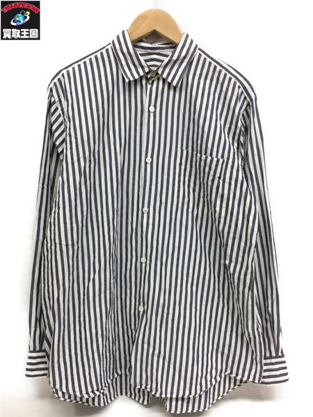 COMOLI 15AW ストライプシャツ(2) ネイビー 白【中古】