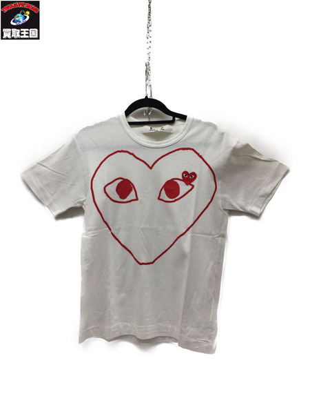 PLAY COMME des GARCONS カットソー 白 S【中古】