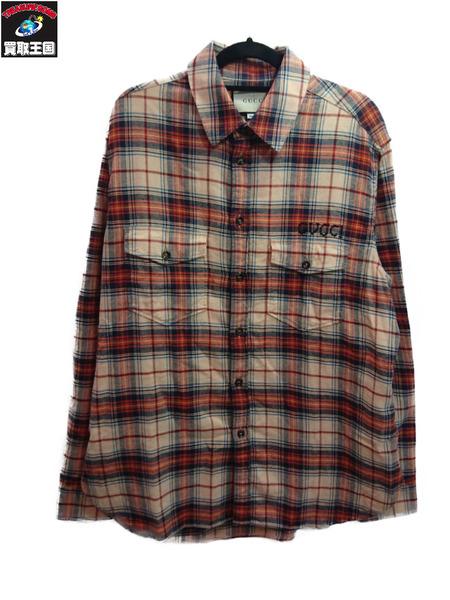 GUCCI パラマウントロゴ刺繍チェックシャツ 48【中古】