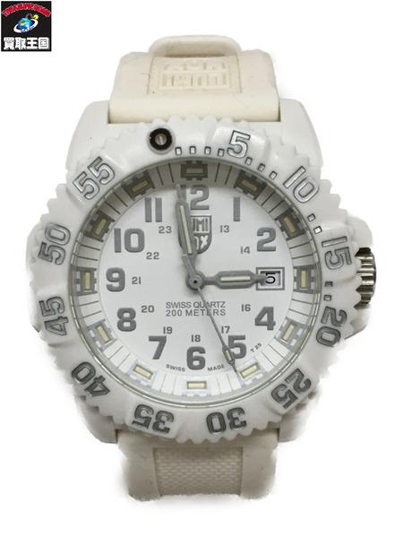 LUMINOX NAVY SEALS 3500 クォーツ腕時計 ホワイト 箱、説明書付属【中古】