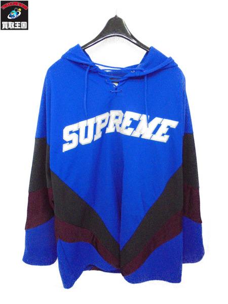 Supreme シュプリーム 17AW Hooded Hockey Jersey フーデッド ホッケー ジャージー ブルー サイズL【中古】