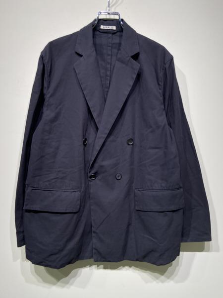 AURALEE/hard twist gabardine double-breasted jacket/4/BLK【中古】[▼]