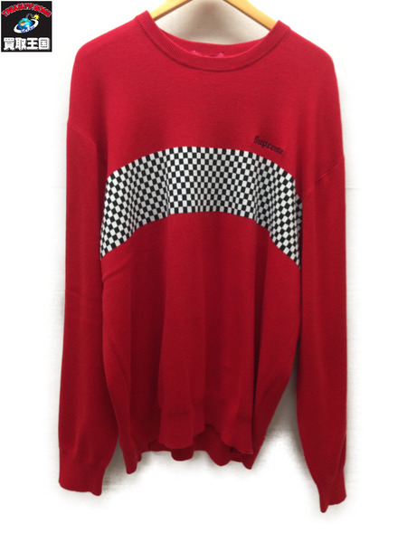 Supreme 18SS Checkered Panel Crewneck Sweater (XL) 赤【中古】