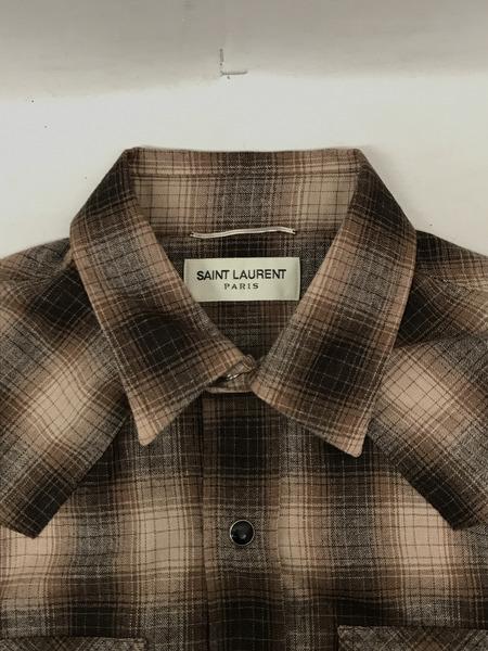 SAINT LAURENTサンローラン 15AW カシミヤ混ウールチェックウエスタンシャツ XS ブラウン