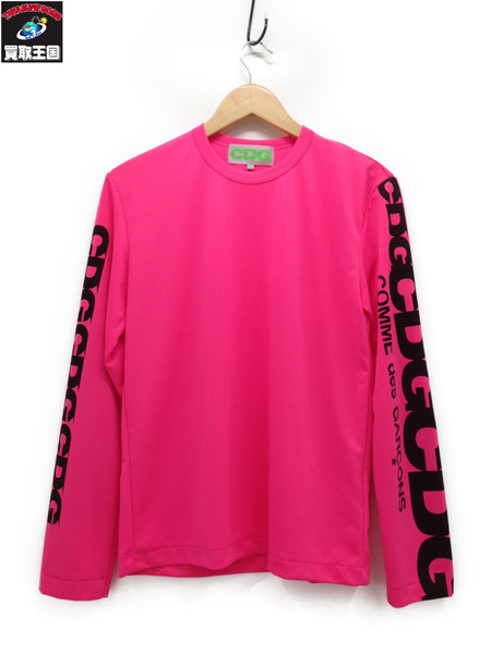 COMME des GARCONS CDG コム テ゛ギャルソン 袖ロゴ 蛍光ピンク (M) AD2018【中古】