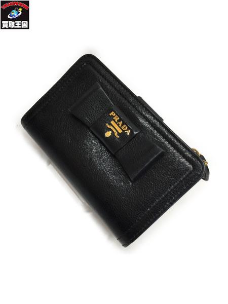 PRADA フィオッコ コンパクトウォレット BLK プラダ リボン 2つ折 財布【中古】