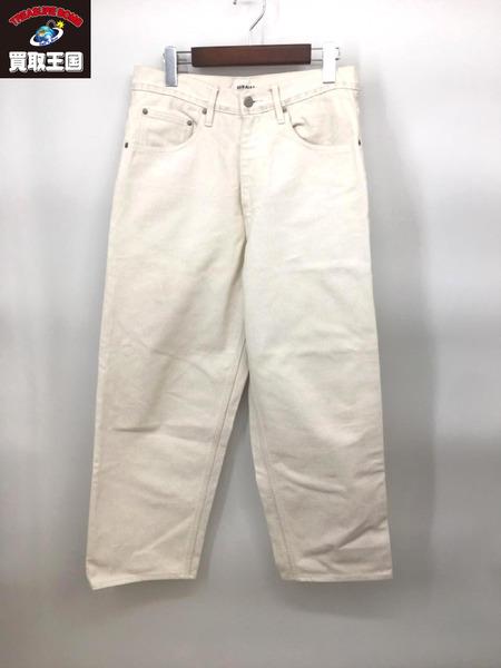 AURALEE 19AW HARD TWIST DENIM WIDE PANTS(約31インチ)白【中古】