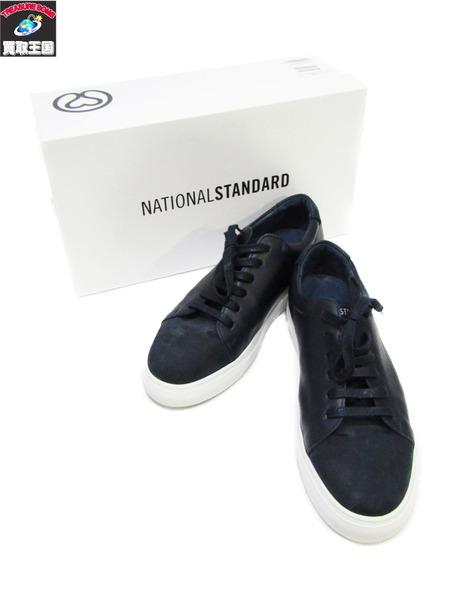 national standard スムースレザー スニーカー 40 ナショナルスタンダード ネイビー【中古】