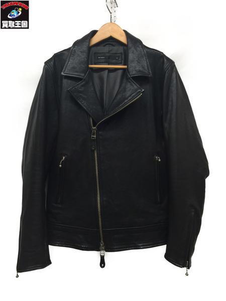 EGO TRIPPING ラムレザーダブルライダースジャケット BLACK 46【中古】