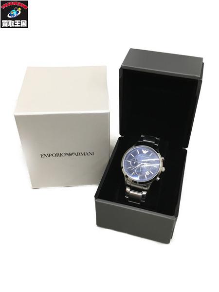 EMPORIO ARMANI RENATO クロノグラフ クォーツ腕時計 銀 AR2448【中古】