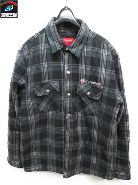 Supreme Independent 17AW QUILTED FLANNEL SHIRT(M)【中古】