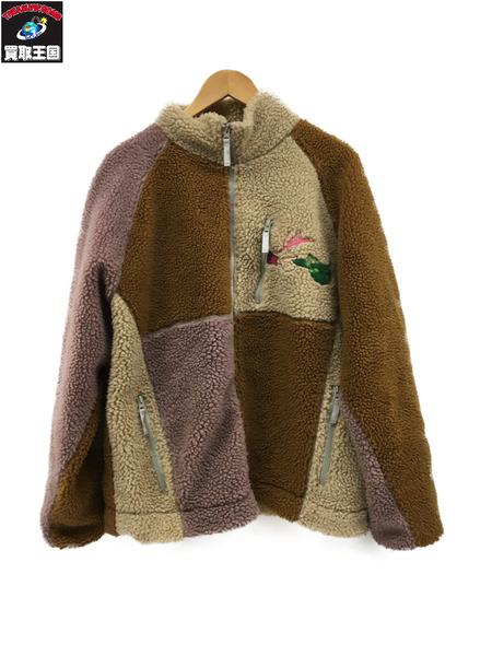 LEFT ALONE 胸バックプリント刺繍ボアジャケット (XL) ブラウン【中古】