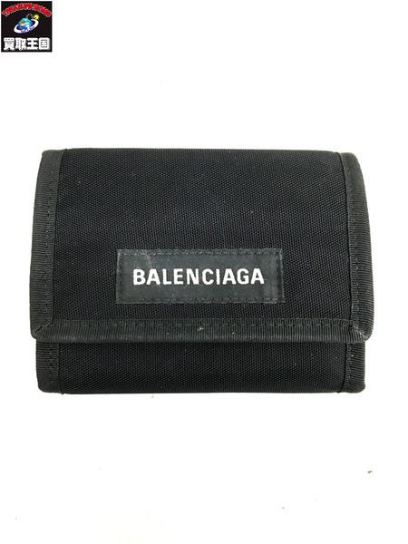 BALENCIAGA/バレンシアガ/三つ折り財布/折りたたみ財布/ナイロンウォレット/ロゴ 507481/9TYY5/ブラック【中古】
