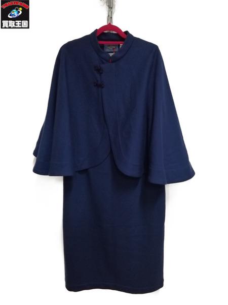 BLUE BLUE/コンプレスドウール シッポウケープコートドレス/2【中古】[▼]
