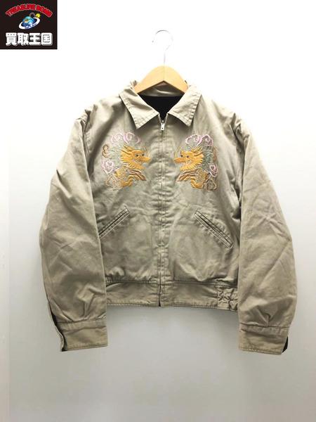 東洋 沖縄マップ×EAGLE刺繍スーベニアジャケット(M)黒ベージュ【中古】