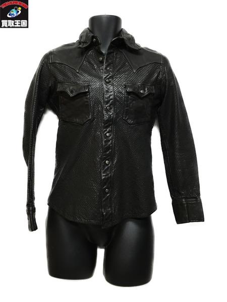 ISAMUKATAYAMA BACKLASH パンチングレザーシャツ 1499-01 (S)【中古】