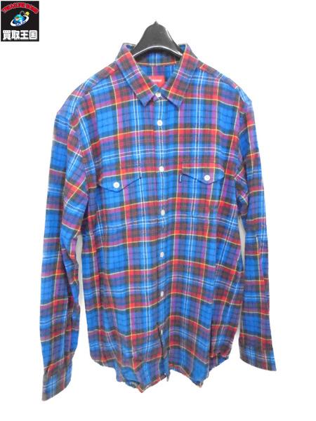 Supreme チェック フランネルシャツ ブルー×レッド サイズL【中古】