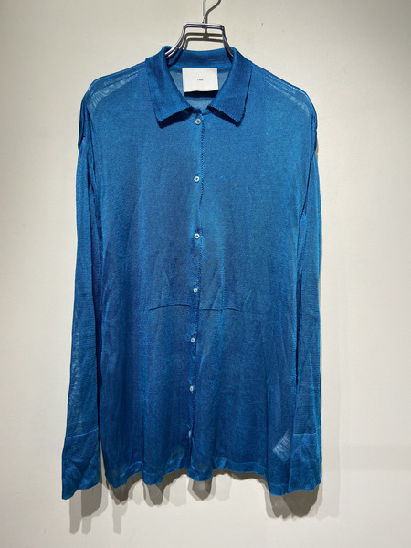 TAN/18SS/SEE THROUGH KNIT SHIRTS/-/ブルー【中古】