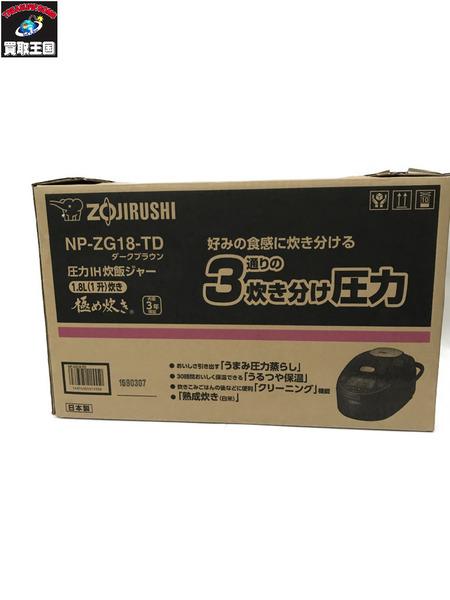 ZOJIRUSI 圧力IH炊飯ジャー 調理器具  NP-ZG18 TD ダークブラウン【中古】[▼]