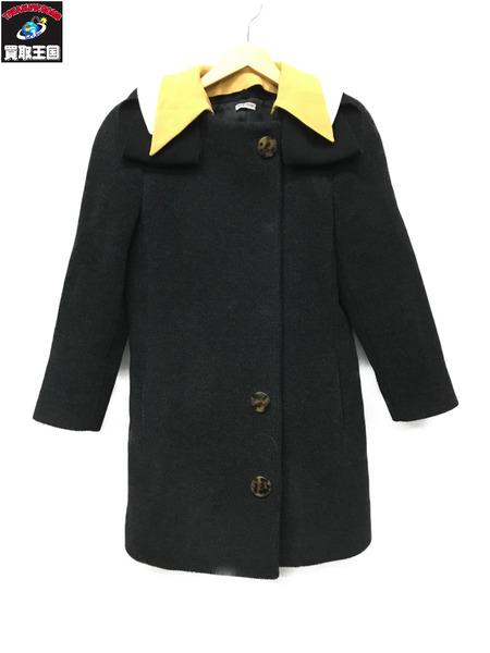 miumiu/セパレートカラーウールコート/40/ブラック【中古】