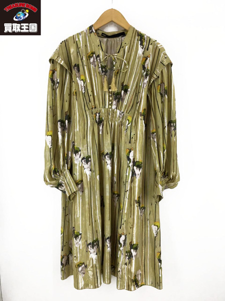 muller of yoshiokubo/18FW/Kielyr Printed Dress/36/ゴールド【中古】