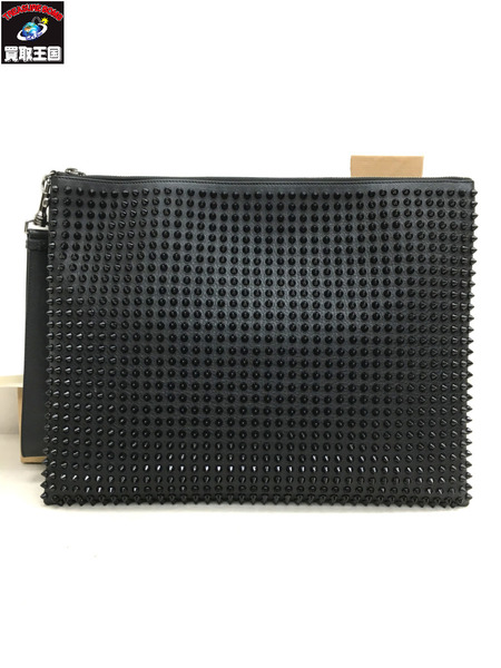 Christian Louboutin/クリスチャンルブタン/PETER POUCH CALF/SPIKES/クラッチバッグ/ブラック/スタッズ/1145048【中古】[▼]
