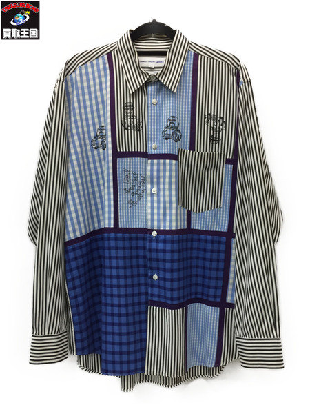 COMME des GARCONS SHIRT/パッチワーク/プリント/シャツ/M【中古】