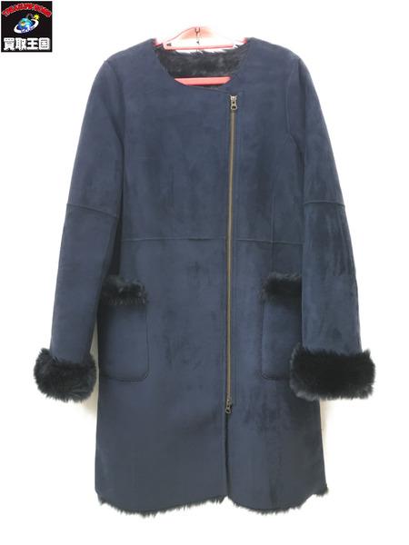 TODAYFUL トゥデイフル Collarless Fake Mouton Coat size38 ノーカラーフェイクムートンコート ネイビー【中古】[▼]