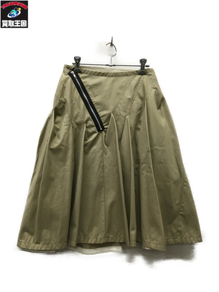 tricot COMME des GARCONS 変形フレアスカート ベージュ【中古】[▼]