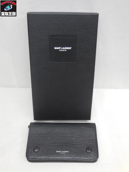 SAINT LAURENT PARIS 型押し レザー ウォレット 財布【中古】