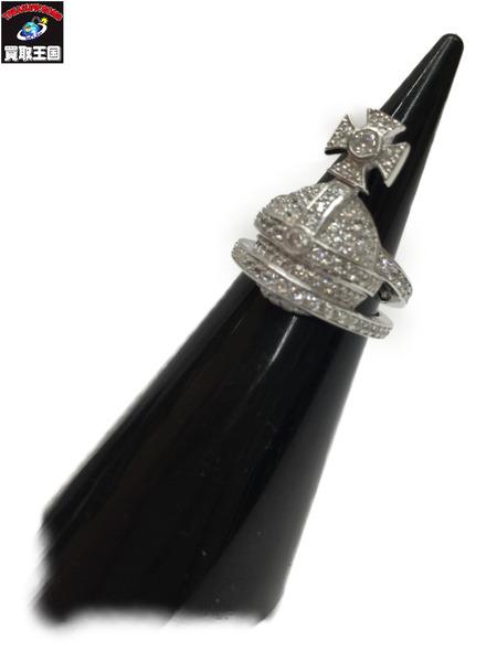 Vivienne Westwood オーブ×ラインストーン SizeS シルバーリング ヴィヴィアン・ウエストウッド ORB 指輪【中古】