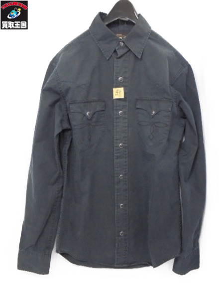 RRL ウエスタンシャツ ブラック サイズXS 【中古】