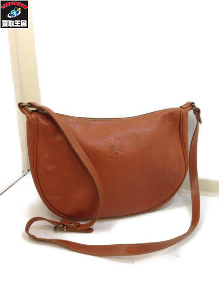 IL BISONTE Leather Shoulder Bag Brown イルビゾンテ ショルダーバッグ【中古】
